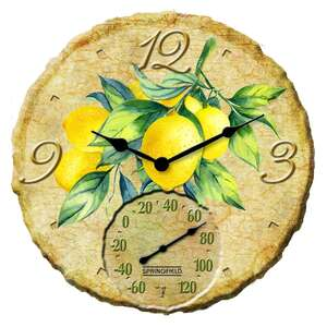 Springfield  Lemons  Clock/Thermometer  Multicolored  Polyresin
