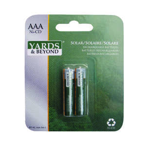 Yards & Beyond  AAA  Ni-Cad  BTNCAAA350D2  2 pk Solar Rechargeable Battery