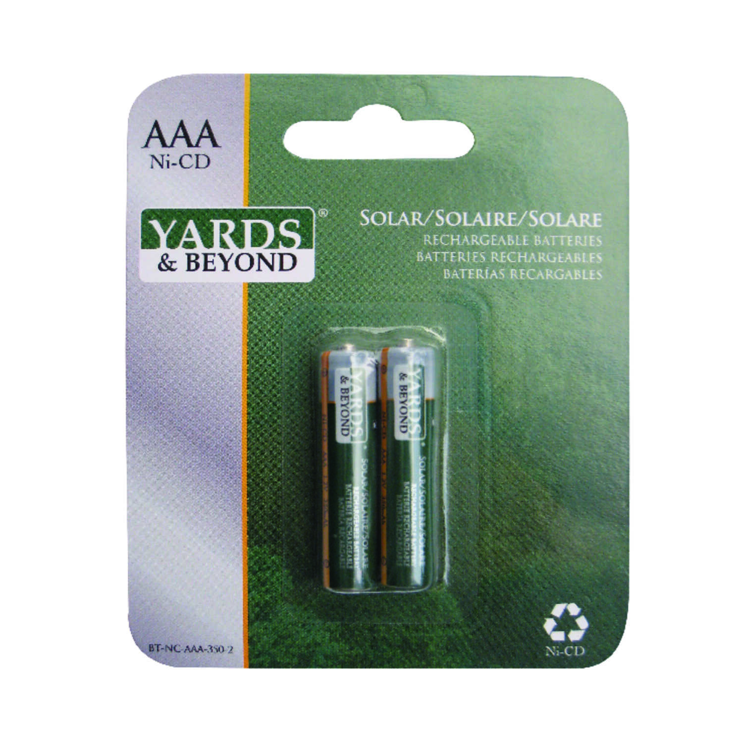 Yards & Beyond  Ni-Cad  AAA  1.2 volt Solar Rechargeable Battery  BTNCAAA350D2  2 pk