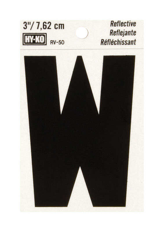 Hy-Ko  3 in. Reflective Black  Vinyl  Letter  W  Self-Adhesive  1 pc.