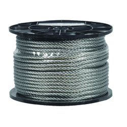 Campbell Chain  Galvanized  Galvanized Steel  1/4 in. Dia. x 250 ft. L Aircraft Cable