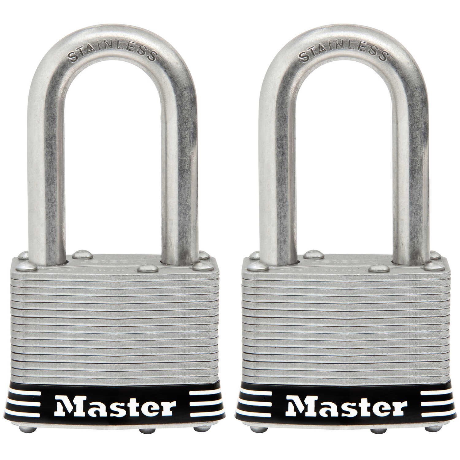 Master Lock  1.75 in. W Stainless Steel  4-Pin Tumbler  2 pk Laminated Padlock  Keyed Alike