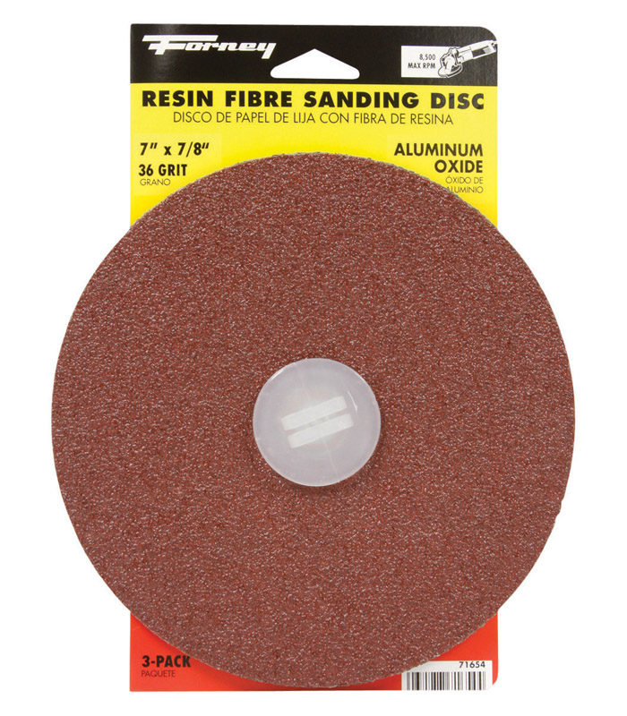 Forney  7 in. Aluminum Oxide  36 Grit 3 pk Sanding Disc  Adhesive