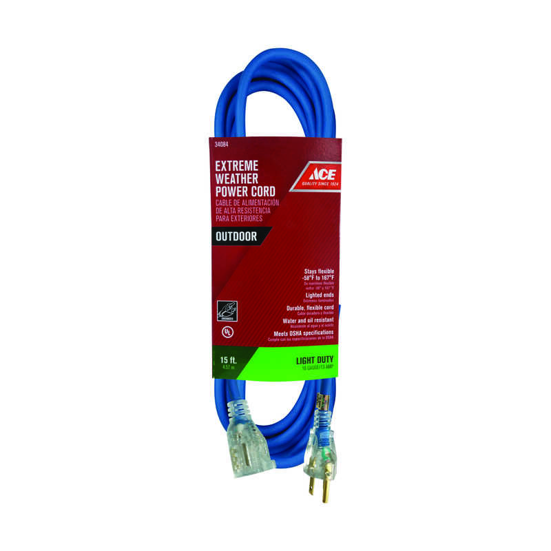 Ace  Outdoor  Blue  Extension Cord  16/3 SJOW  15 ft. L