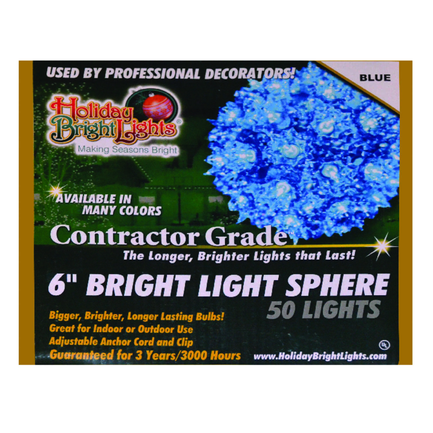 Holiday Bright Lights  Incandescent  Contractor  Sphere Light  Blue  12 ft. 50 lights