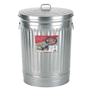 Behrens  31 gal. Galvanized Steel  Garbage Can  Lid Included Animal Proof/Animal Resistant