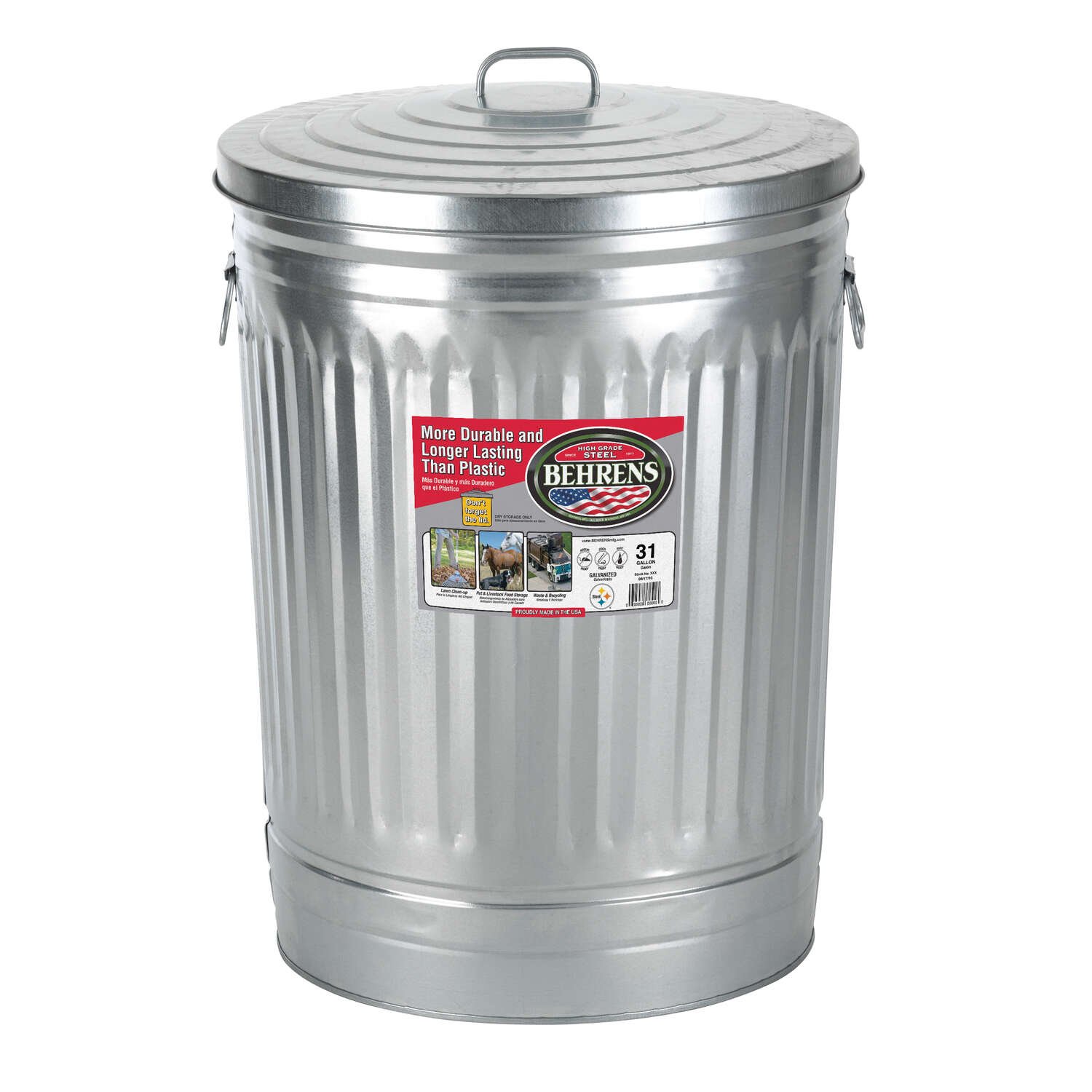 Behrens 31 Gal Galvanized Steel Garbage Can Lid Included Animal Proof Animal Resistant Ace Hardware