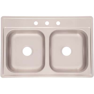 Kindred  Stainless Steel  Top Mount  33 in. W x 22 in. L Two Bowls  Double Kitchen Sink
