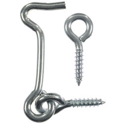 Ace Small Zinc-Plated Silver Steel 2 in. L Hook and Eye 2 pk