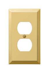 Amerelle  Century  Polished Brass  1 gang Stamped Steel  Duplex Outlet  Wall Plate  1 pk