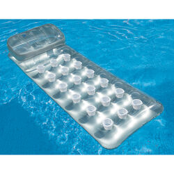 Intex Silver Vinyl Inflatable 18-Pocket Suntanner Pool Floating Lounger