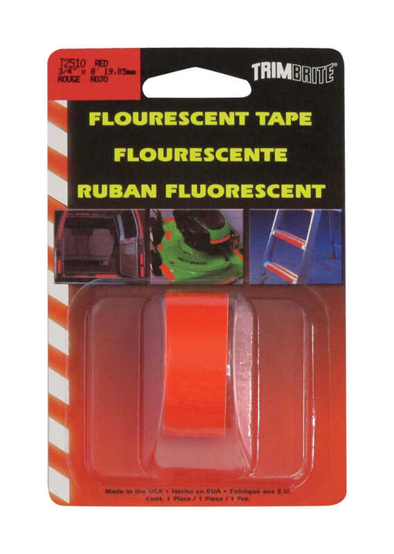 Trim Brite  3/4 in. W x 8 in. L Fluorescent Red  Reflective Tape  1 pk