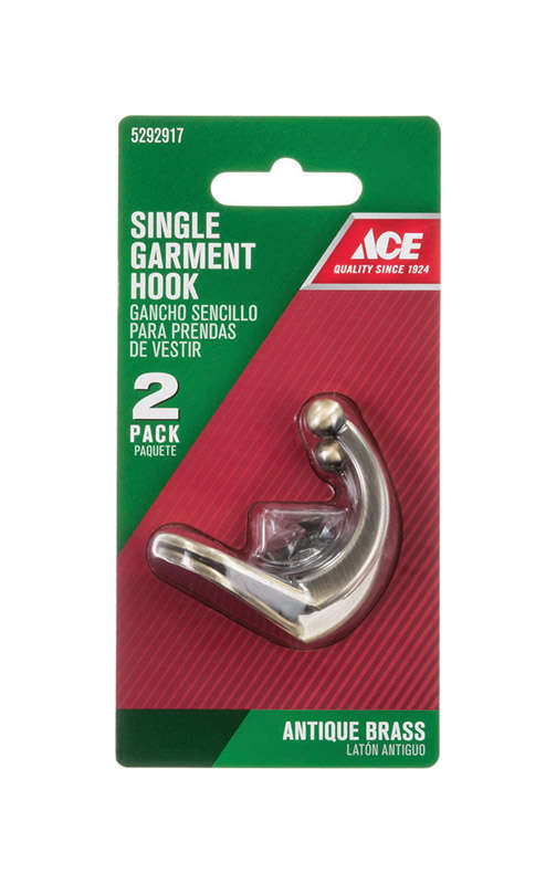 Ace  1-3/4 in. L Gold  Brass  Antique Brass  Small  Hook  2 pk Single Garment