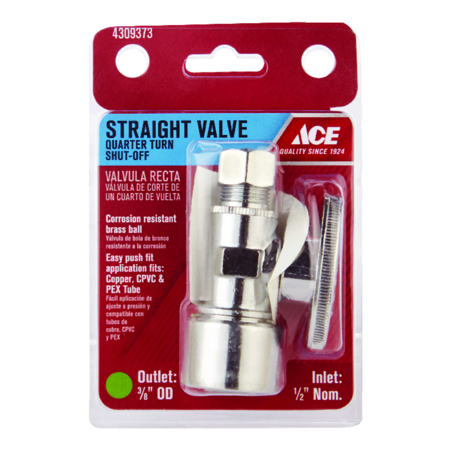 Ace  Push Fit   Compression  Brass  Straight Stop Valve