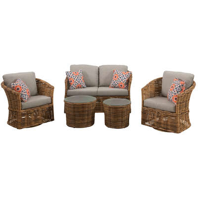 Mod  Lexi  5 pc. Brown  Steel Frame Seating Set  Gray