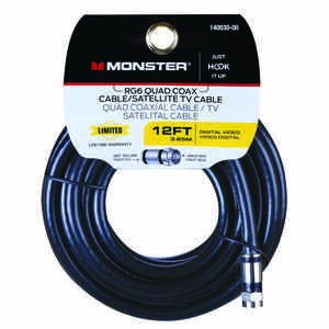 Monster Cable  Just Hook It Up  Weatherproof Video Coaxial Cable  12 ft.