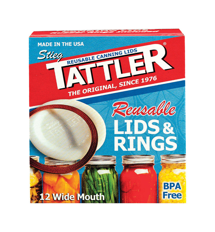 Tattler  Wide Mouth  Canning Lids with Rubber Rings  12 pk
