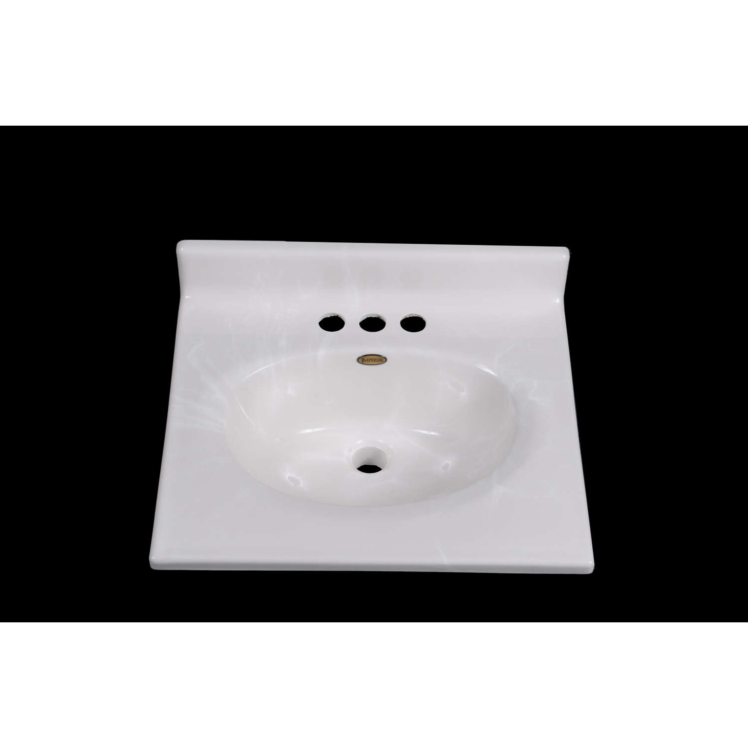 Imperial Marble Vanity Top Cultured Marble Single Bowl 19-1/2 in. x 17 in. White
