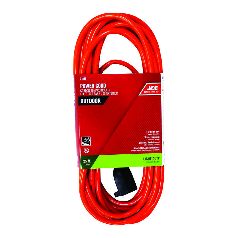 Ace Indoor or Outdoor 25 ft. L Orange Extension Cord 16/3 SJTW