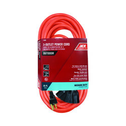 Ace  Indoor or Outdoor  25 ft. L Orange  Triple Outlet Cord  14/3 SJTW