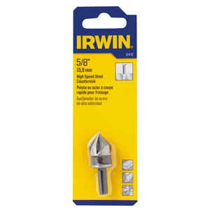 Irwin  5/8 in. Dia. High Speed Steel  Countersink  1/4 in. Round Shank  1 pc.