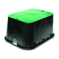 NDS 25-3/4 inch W x 12 inch H Rectangular Valve Box with Overlapping Cover Black/Green
