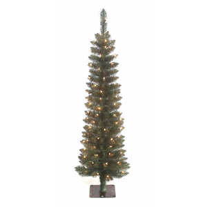 J & J Seasonal  Prelit 5-1/2 ft. Clear  Artificial Tree  150 lights 298 tips Slim Forest Fir