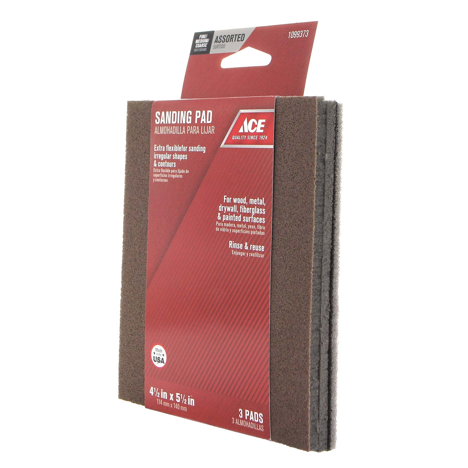 Ace  5-1/2 in. L 60/120/180 Grit Assorted  Sanding Sponge