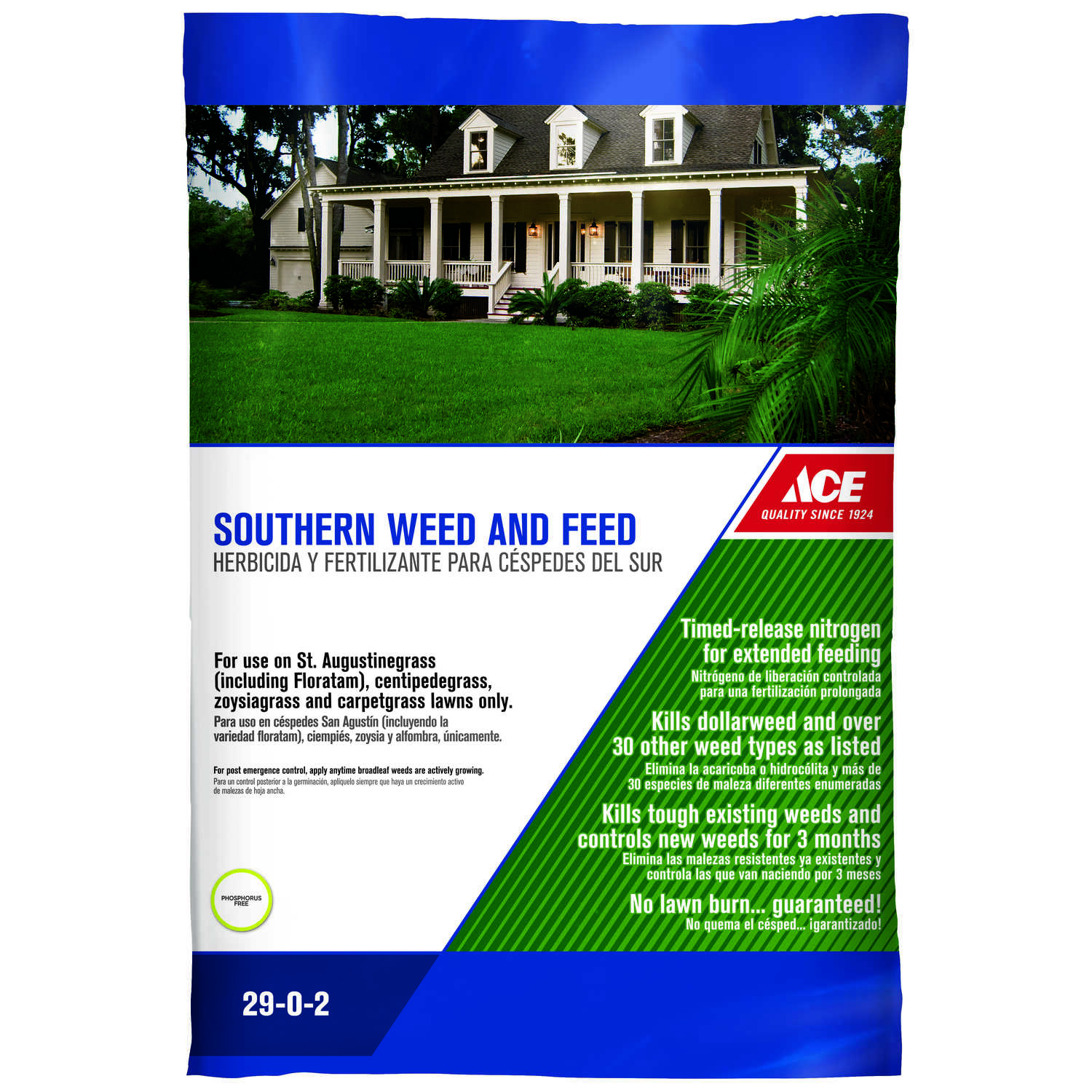 Ace  29-0-2  Weed and Feed  For Southern 16 lb. 5000 sq. ft.