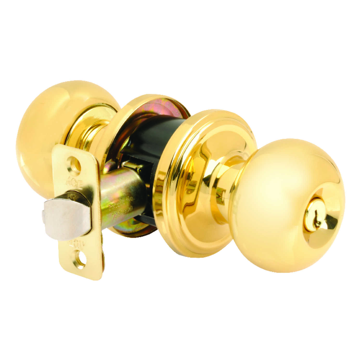Ace  Colonial  Polished Brass  Steel  Entry Lockset  ANSI Grade 3  1-3/4 in.