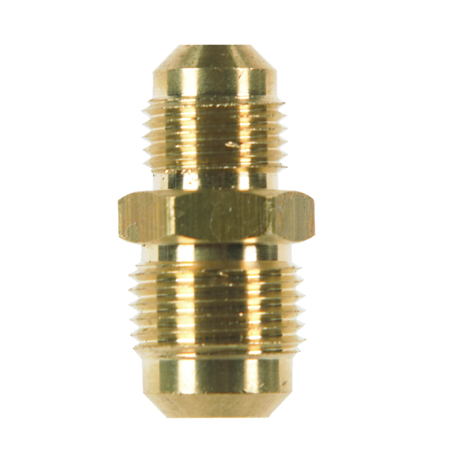 JMF  1/2 in. Dia. x 3/8 in. Dia. Flare To Flare To Flared  Yellow Brass  Reducing Union