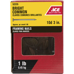 Ace  10D  3 in. Framing  Bright  Steel  Nail  Round  1 lb.