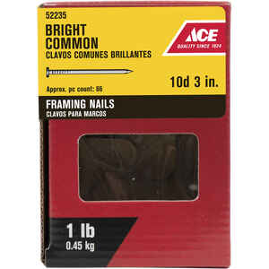 Ace  10D  3 in. L Framing  Bright  Steel  Nail  Smooth Shank  Round  1 lb.