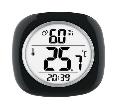 Taylor  Hygrometer/Temperature/Time  Digital Thermometer  Plastic  Black