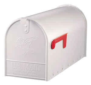 Gibraltar Mailboxes  Elite  Galvanized Steel  Post Mounted  White  Mailbox  10-1/2 in. H x 8-1/2 in.
