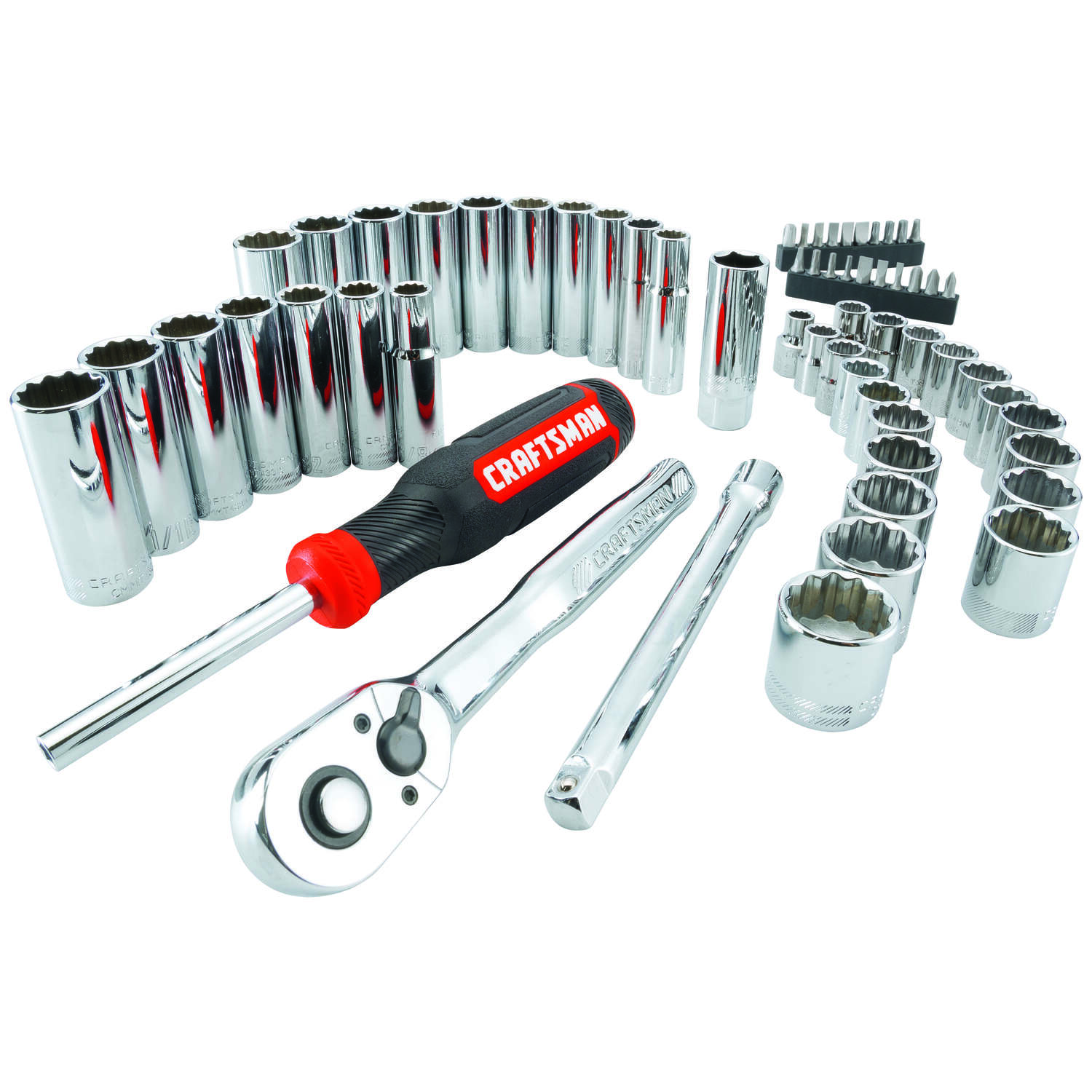 Craftsman  3/8 in. drive  Metric and SAE  12 Point Mechanic's Tool Set  61 pc.