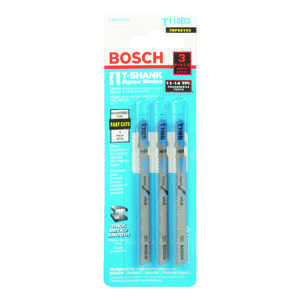 Bosch  3 in. T-Shank  Jig Saw Blade  14 TPI 3 pk High Carbon Steel
