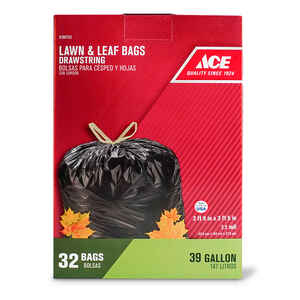 Ace  39 gal. Lawn and Leaf Bags  Drawstring  32 pk