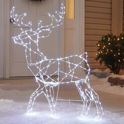 Celebrations  Lighted Standing Deer  Christmas Decoration  White  Iron  1 pk