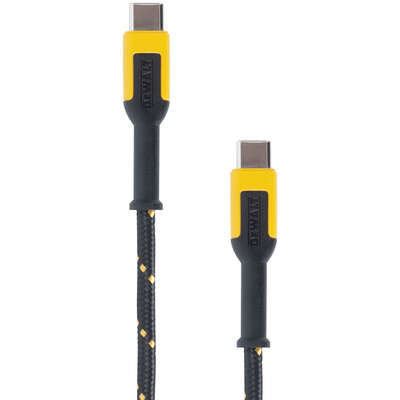 DeWalt  Black/Yellow  Reinforced Braided  USB-C Cable  For USB PD Devices 4 ft. L