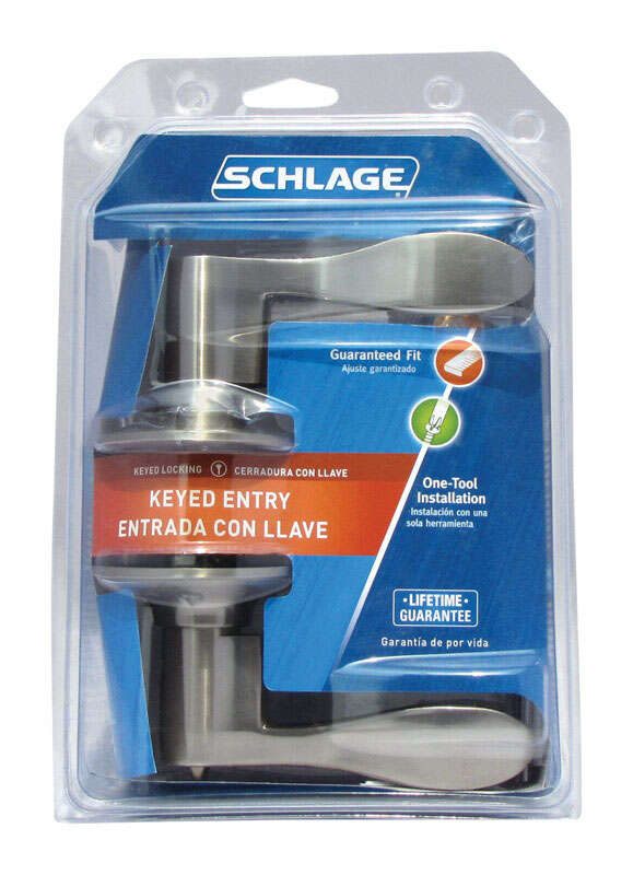 Schlage  Accent  Satin Nickel  Steel  Entry Lockset  1-3/4 in. ANSI Grade 2