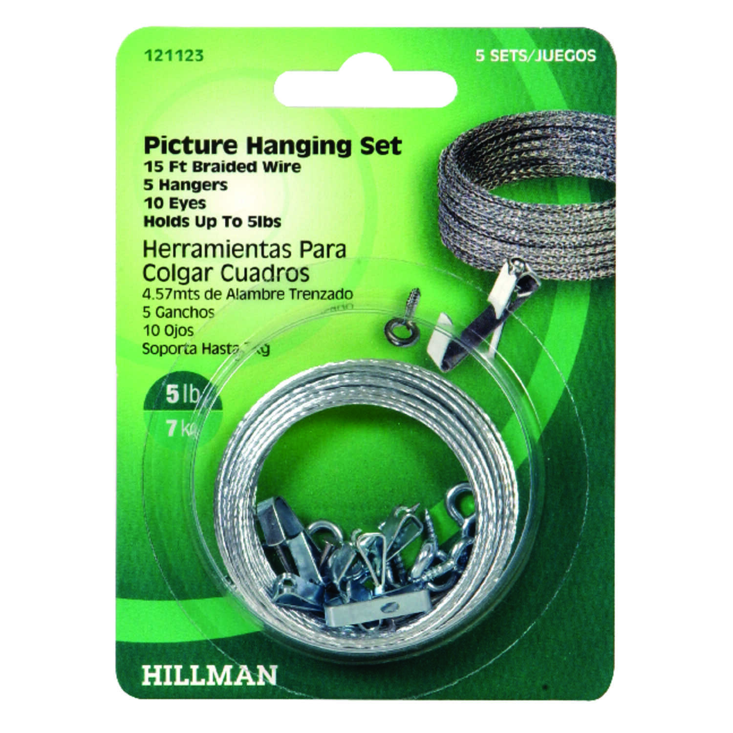 Hillman  AnchorWire  Steel-Plated  Steel  Picture Hanging Set  5 lb. Conventional  5 pk