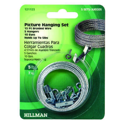Hillman  AnchorWire  Steel-Plated  Steel  Picture Hanging Set  5 lb. 5 pk Conventional