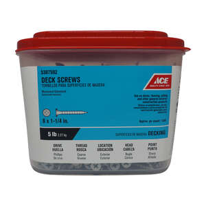 Ace  No. 6   x 1-1/4 in. L Phillips  Galvanized  Steel  Deck Screws  1320 each Bugle  5 lb.