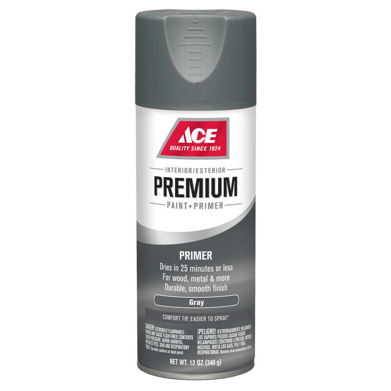 Ace  Premium  Smooth  Enamel Primer Spray Paint  Gray  12 oz.