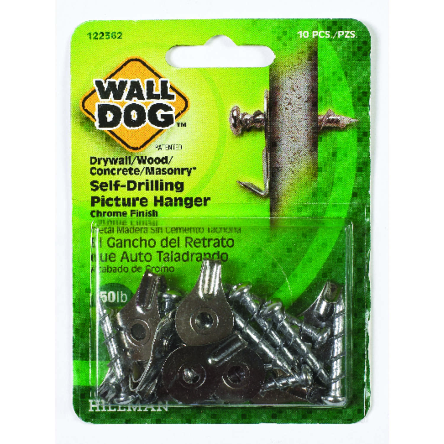 HILLMAN  WALL DOG  Chrome  Self-Drilling  Picture Hanger  50 lb. Steel  10 pk