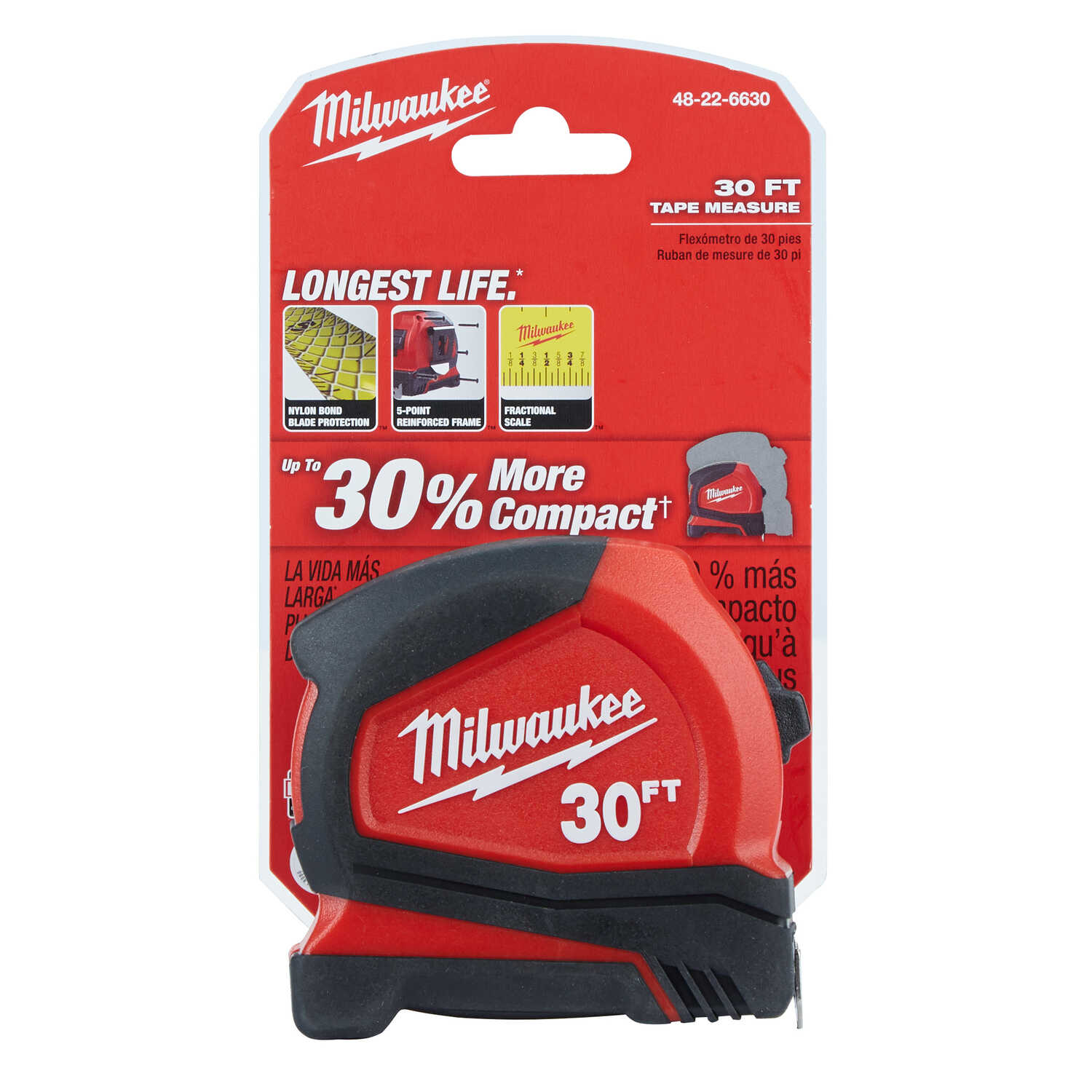 Milwaukee  30 ft. L x 1.65 in. W Compact  Tape Measure  Red  1 pk