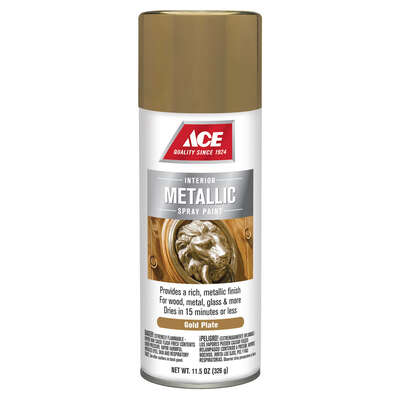 Ace  Brilliant  Gold Plate  Metallic Spray Paint  11.5 oz.