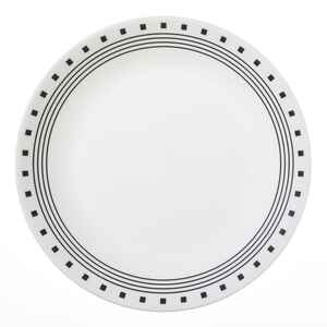 Corelle  Livingware  Black/White  Glass  City Block  Dinner Plate  1 pk