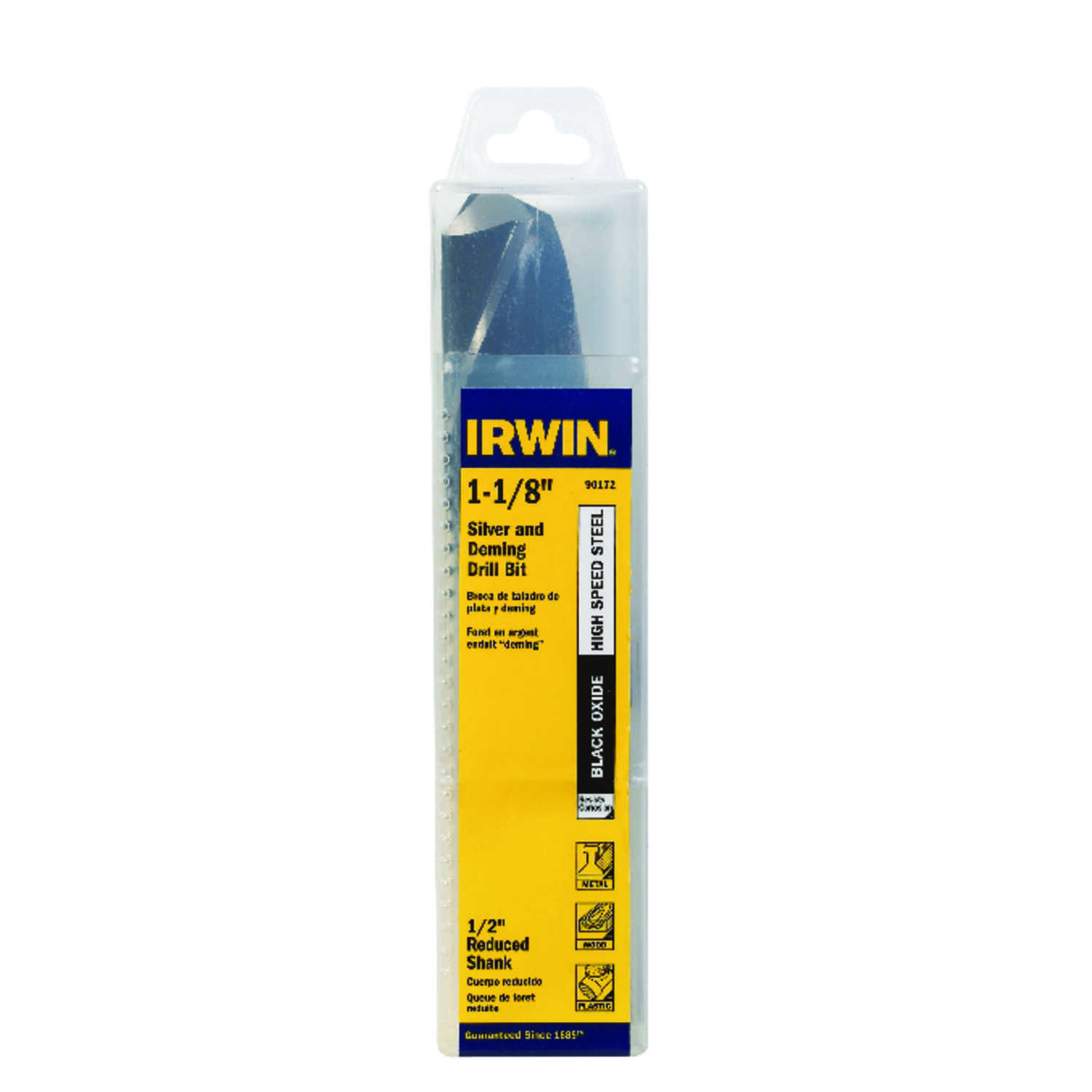 Irwin  1-1/8 in. Dia. x 6  L High Speed Steel  Drill Bit  1 pc.